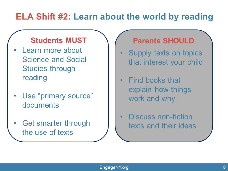 EngageNY.org8 Parents SHOULD Students MUST Learn more about Science and Social Studies through reading Use primary source documents Get smarter through the use of texts Supply texts on topics that interest your child Find books that explain how things work and why Discuss non-fiction texts and their ideas ELA Shift #2: Learn about the world by reading