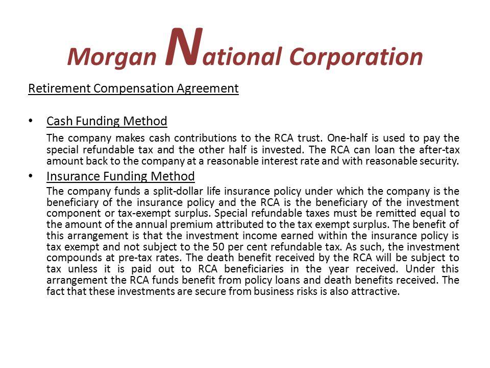 Morgan N Ational Corporation Retirement Compensation Agreement Rca
