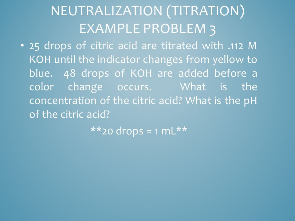 25 drops of citric acid are titrated with.112 M KOH until the indicator changes from yellow to blue.