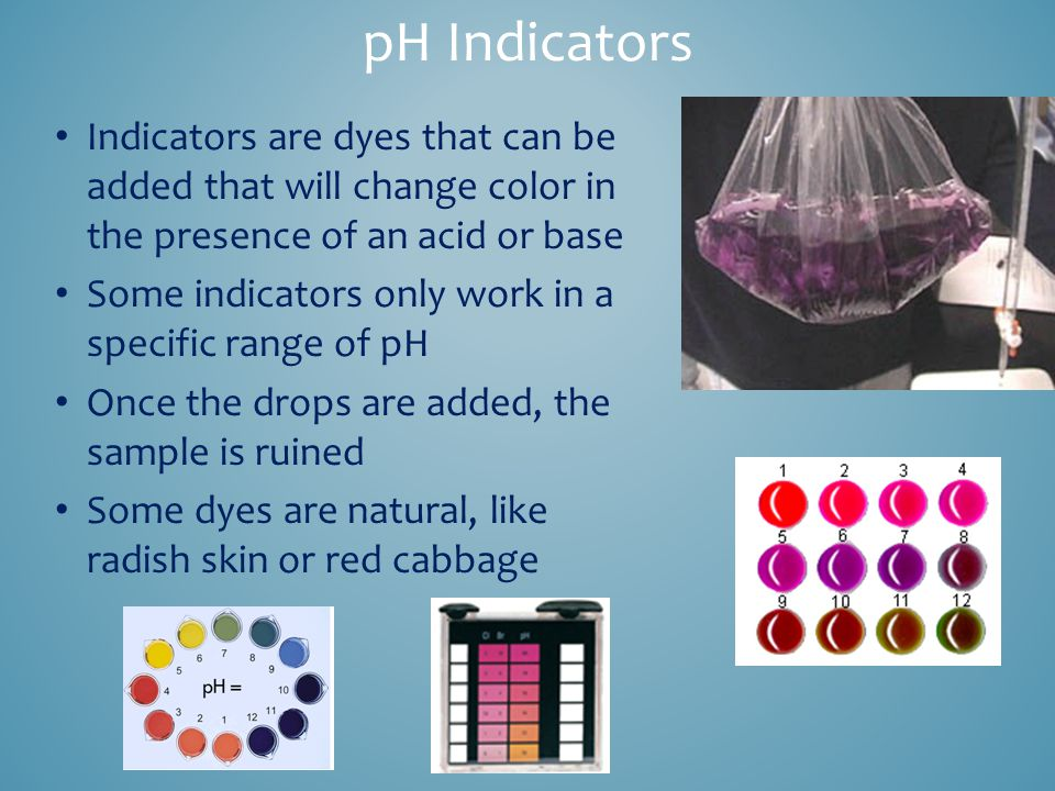 pH Indicators Indicators are dyes that can be added that will change color in the presence of an acid or base Some indicators only work in a specific range of pH Once the drops are added, the sample is ruined Some dyes are natural, like radish skin or red cabbage