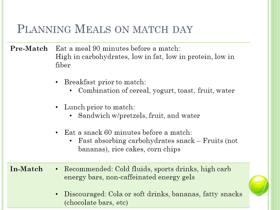 P LANNING M EALS ON MATCH DAY Pre-Match Eat a meal 90 minutes before a match: High in carbohydrates, low in fat, low in protein, low in fiber Breakfast prior to match: Combination of cereal, yogurt, toast, fruit, water Lunch prior to match: Sandwich w/pretzels, fruit, and water Eat a snack 60 minutes before a match: Fast absorbing carbohydrates snack – Fruits (not bananas), rice cakes, corn chips In-Match Recommended: Cold fluids, sports drinks, high carb energy bars, non-caffeinated energy gels Discouraged: Cola or soft drinks, bananas, fatty snacks (chocolate bars, etc)
