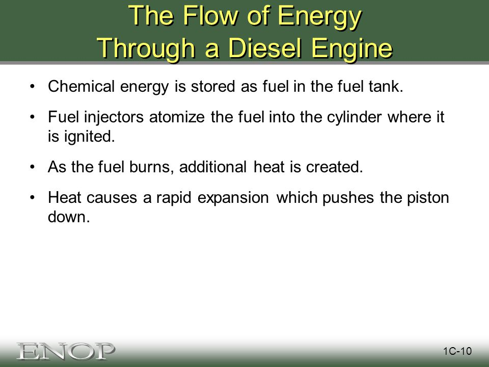 The Flow of Energy Through a Diesel Engine Chemical energy is stored as fuel in the fuel tank.