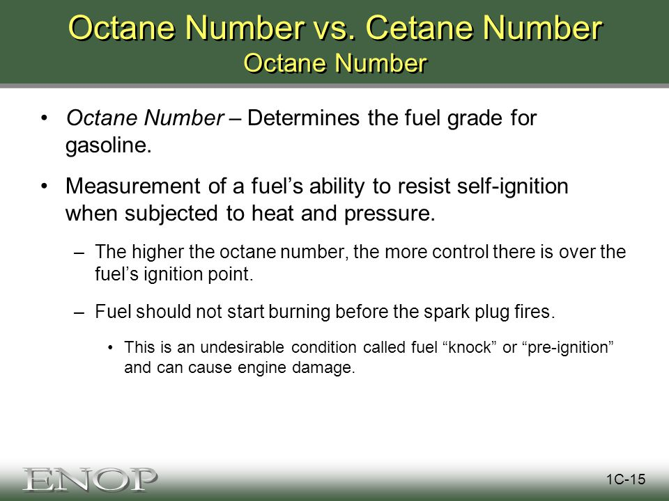Octane Number vs.