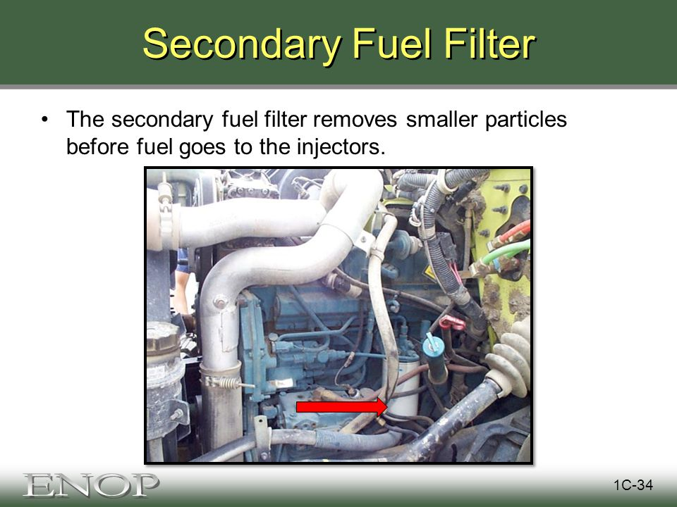 Secondary Fuel Filter The secondary fuel filter removes smaller particles before fuel goes to the injectors.