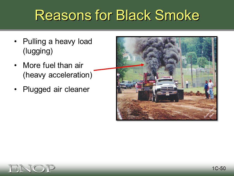 Reasons for Black Smoke Pulling a heavy load (lugging) More fuel than air (heavy acceleration) Plugged air cleaner 1C-50