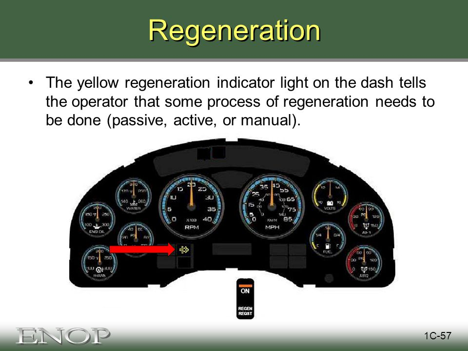 Regeneration The yellow regeneration indicator light on the dash tells the operator that some process of regeneration needs to be done (passive, active, or manual).