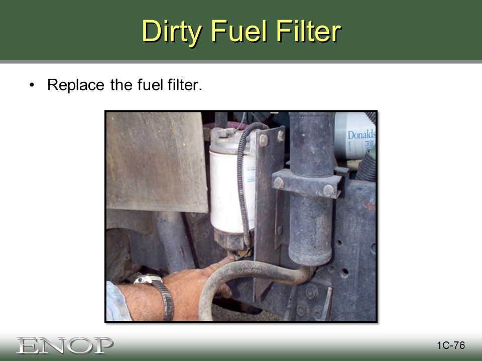 Dirty Fuel Filter Replace the fuel filter. 1C-76
