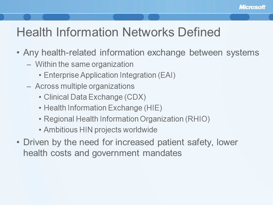 Health Information Networks Defined Any health-related information exchange between systems –Within the same organization Enterprise Application Integration (EAI) –Across multiple organizations Clinical Data Exchange (CDX) Health Information Exchange (HIE) Regional Health Information Organization (RHIO) Ambitious HIN projects worldwide Driven by the need for increased patient safety, lower health costs and government mandates