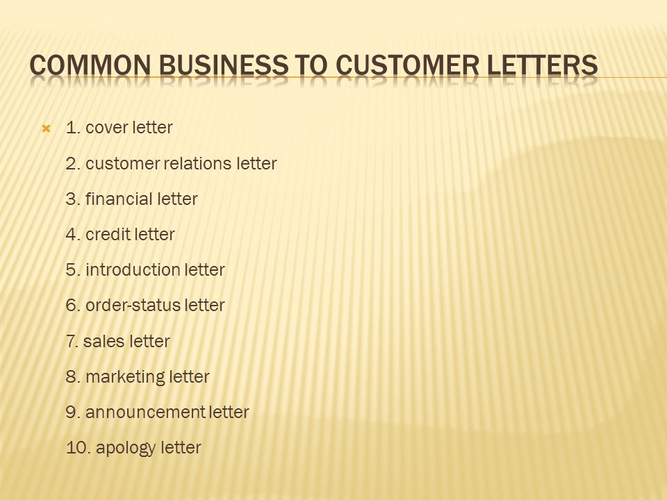 Identify Types Of Business Letters Business To Business