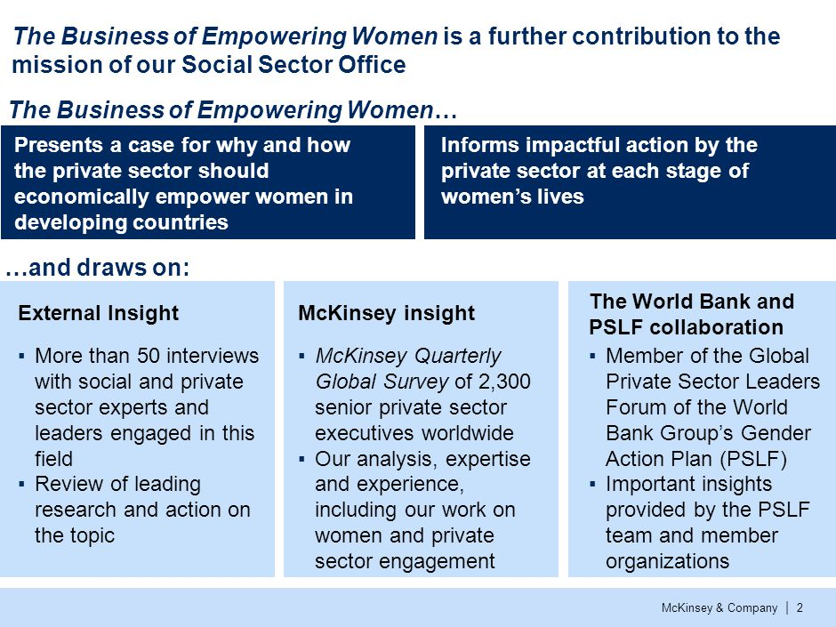 McKinsey & Company | 2 The Business of Empowering Women is a further contribution to the mission of our Social Sector Office Presents a case for why and how the private sector should economically empower women in developing countries McKinsey insight ▪McKinsey Quarterly Global Survey of 2,300 senior private sector executives worldwide ▪Our analysis, expertise and experience, including our work on women and private sector engagement External Insight ▪More than 50 interviews with social and private sector experts and leaders engaged in this field ▪Review of leading research and action on the topic The World Bank and PSLF collaboration ▪Member of the Global Private Sector Leaders Forum of the World Bank Group's Gender Action Plan (PSLF) ▪Important insights provided by the PSLF team and member organizations Informs impactful action by the private sector at each stage of women's lives The Business of Empowering Women… …and draws on: