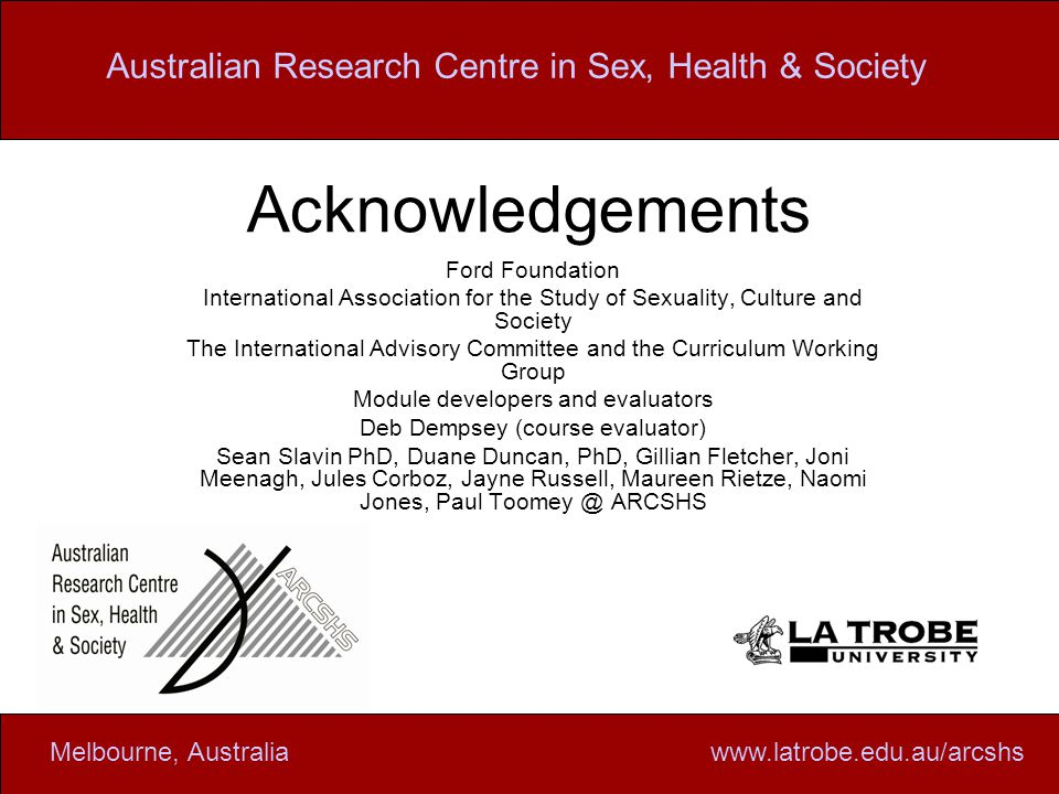 Australian research centre in sex health and society