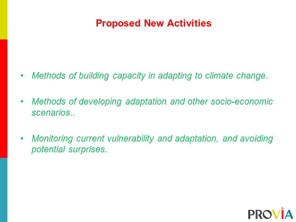 Proposed New Activities Methods of building capacity in adapting to climate change.