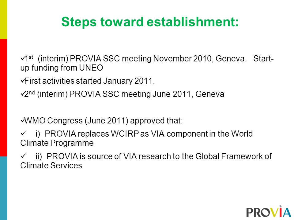 Steps toward establishment: 1 st (interim) PROVIA SSC meeting November 2010, Geneva.