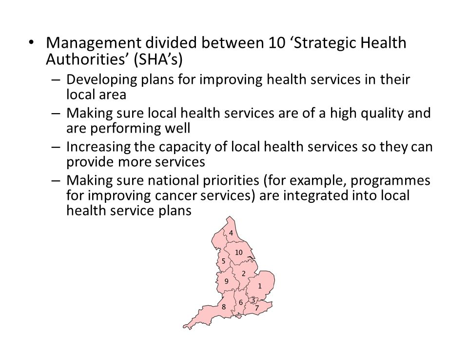 Management divided between 10 'Strategic Health Authorities' (SHA's) – Developing plans for improving health services in their local area – Making sure local health services are of a high quality and are performing well – Increasing the capacity of local health services so they can provide more services – Making sure national priorities (for example, programmes for improving cancer services) are integrated into local health service plans