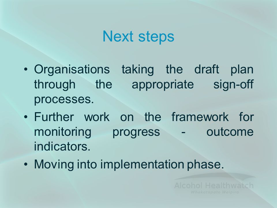 Next steps Organisations taking the draft plan through the appropriate sign-off processes.