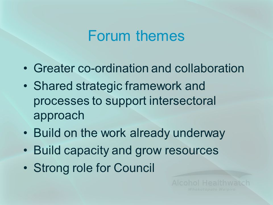 Forum themes Greater co-ordination and collaboration Shared strategic framework and processes to support intersectoral approach Build on the work already underway Build capacity and grow resources Strong role for Council