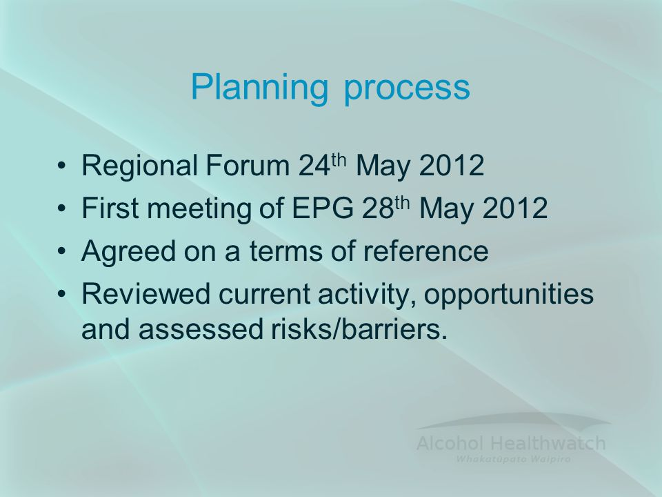 Planning process Regional Forum 24 th May 2012 First meeting of EPG 28 th May 2012 Agreed on a terms of reference Reviewed current activity, opportunities and assessed risks/barriers.