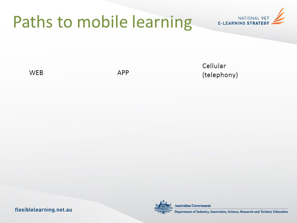 Paths to mobile learning WEBAPP Cellular (telephony)