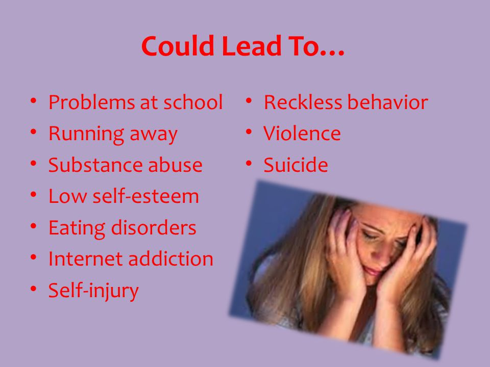 Could Lead To… Problems at school Running away Substance abuse Low self-esteem Eating disorders Internet addiction Self-injury Reckless behavior Violence Suicide