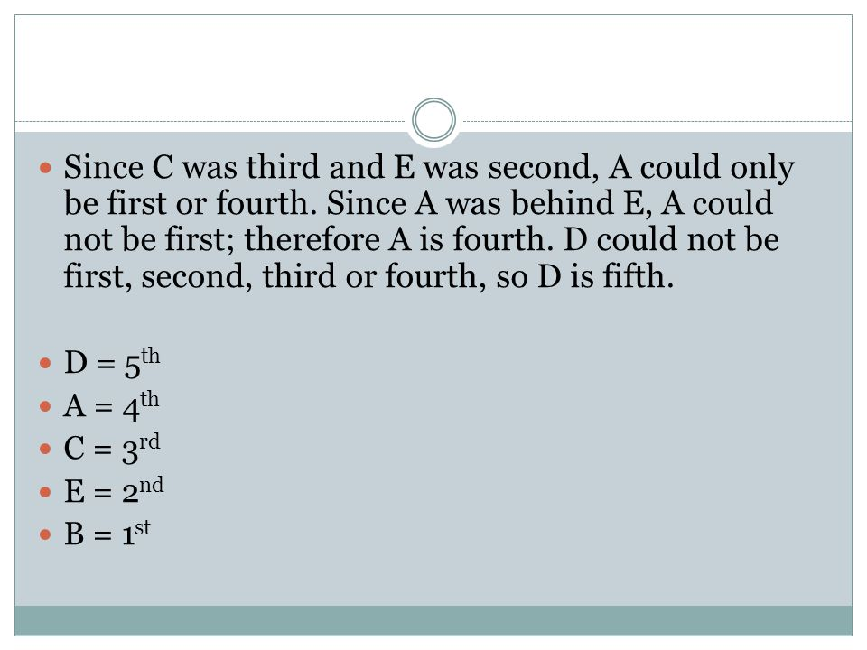 Since C was third and E was second, A could only be first or fourth.
