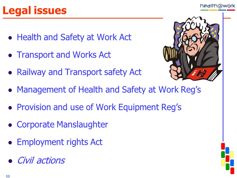 11 Legal issues Health and Safety at Work Act Transport and Works Act Railway and Transport safety Act Management of Health and Safety at Work Reg's Provision and use of Work Equipment Reg's Corporate Manslaughter Employment rights Act Civil actions