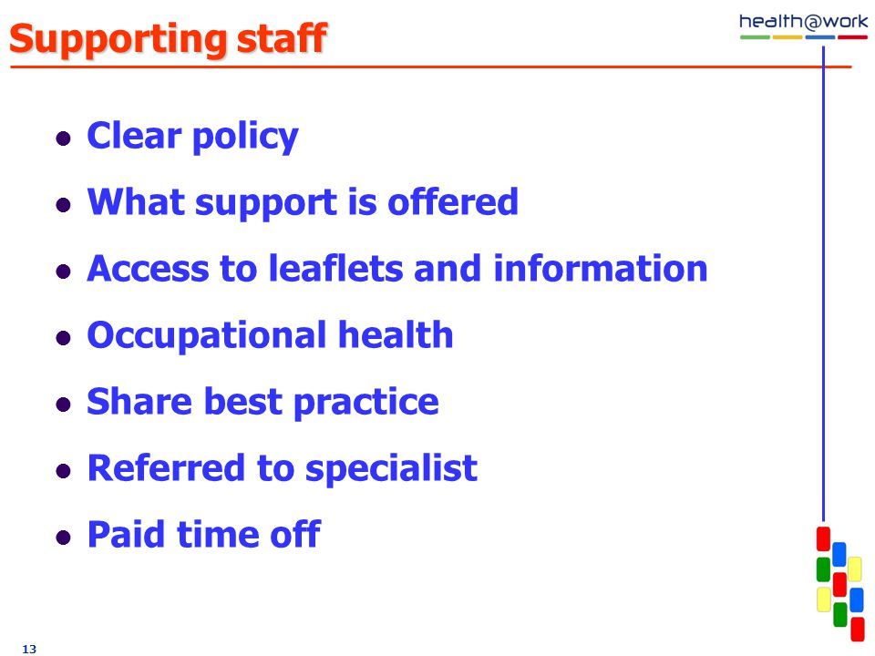 Supporting staff Clear policy What support is offered Access to leaflets and information Occupational health Share best practice Referred to specialist Paid time off 13