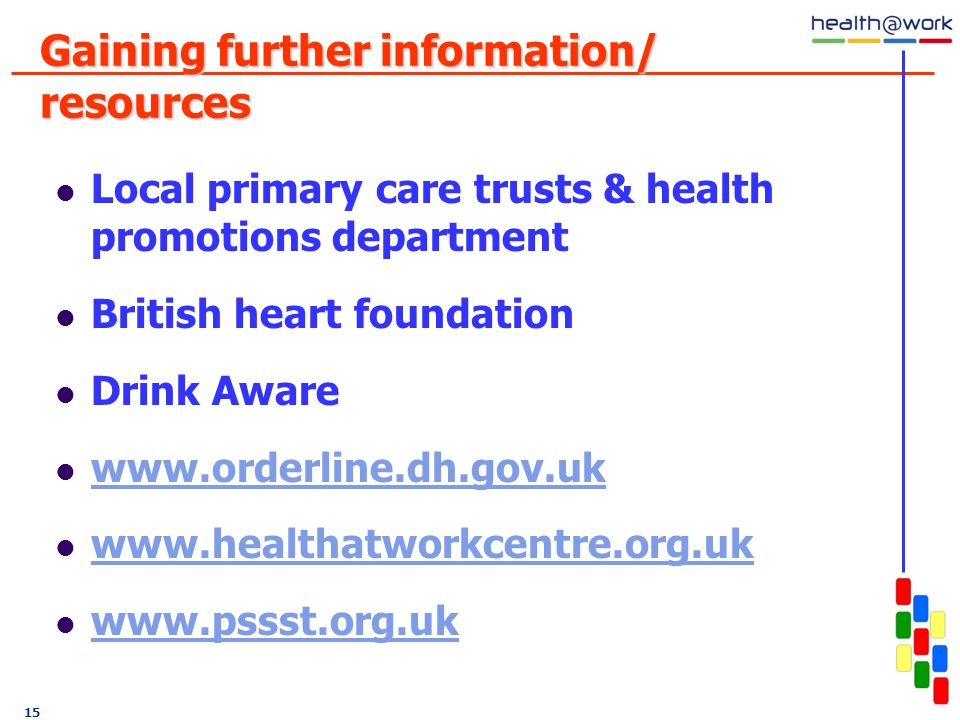 Gaining further information/ resources Local primary care trusts & health promotions department British heart foundation Drink Aware