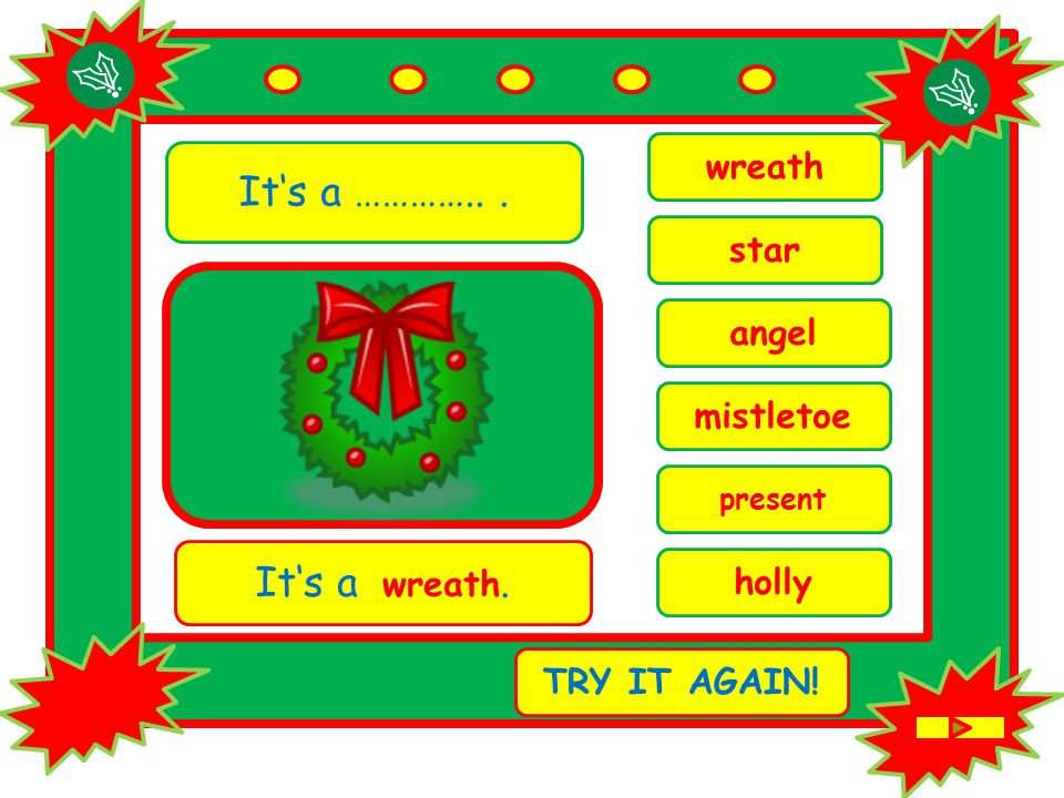 It's a …………... present It's a wreath. TRY IT AGAIN! wreath angel holly mistletoe star