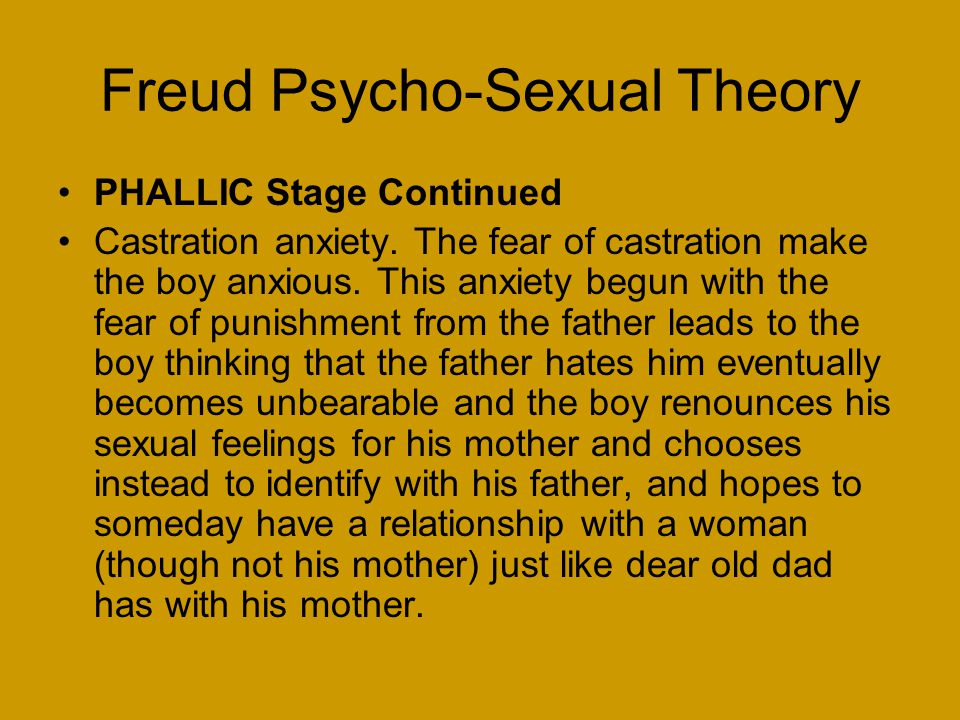 Freud Psycho-Sexual Theory PHALLIC Stage Continued Castration anxiety.
