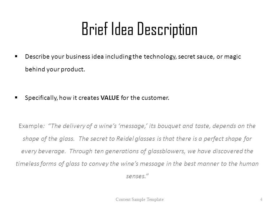 Proposal template 2015 content sample template1 about this template brief idea description describe your business idea including the technology secret sauce or flashek Images