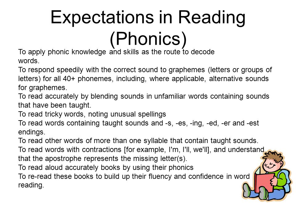 Expectations in Reading (Phonics) To apply phonic knowledge and skills as the route to decode words.