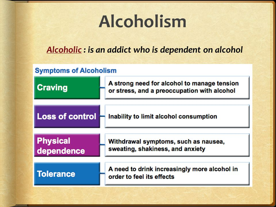 Alcoholism Alcoholic : is an addict who is dependent on alcohol