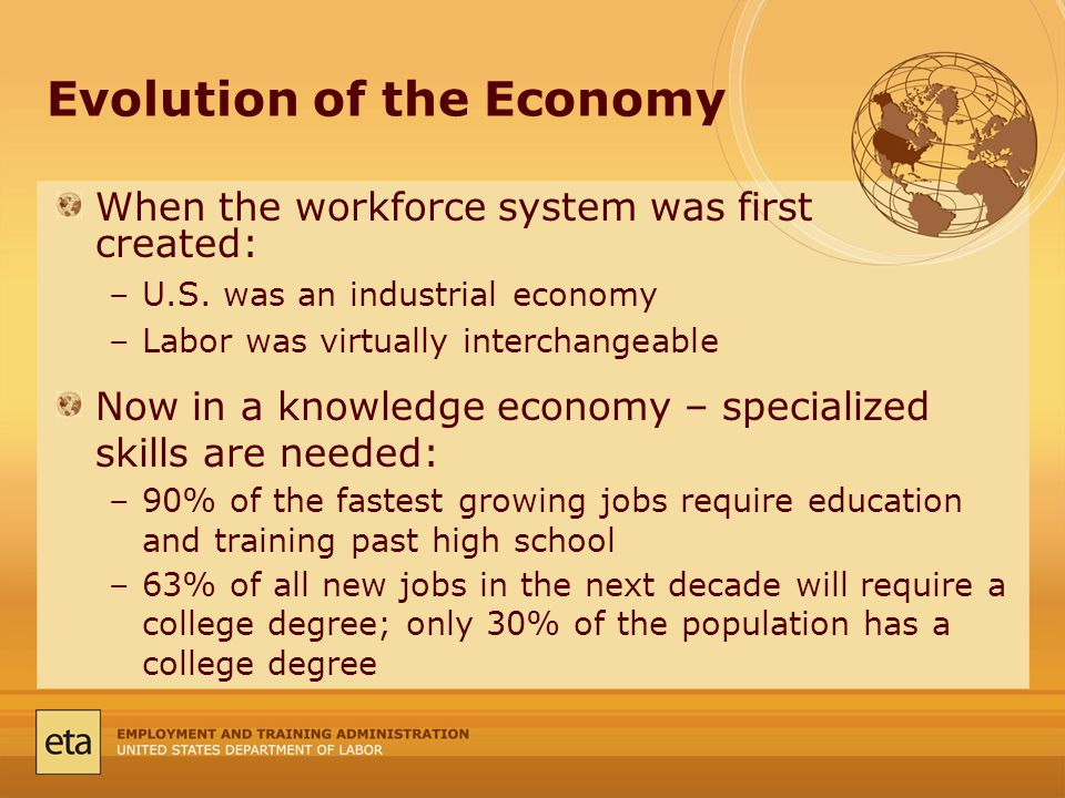 Evolution of the Economy When the workforce system was first created: –U.S.