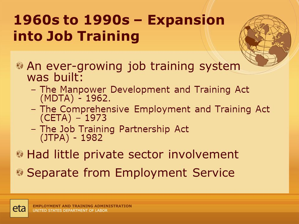 1960s to 1990s – Expansion into Job Training An ever-growing job training system was built: –The Manpower Development and Training Act (MDTA)