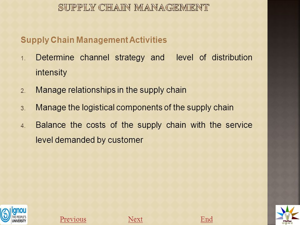 Supply Chain Management Activities 1.