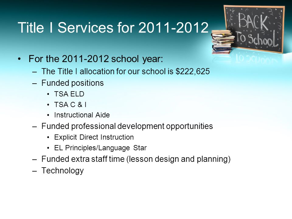 Title I Services for For the school year: –The Title I allocation for our school is $222,625 –Funded positions TSA ELD TSA C & I Instructional Aide –Funded professional development opportunities Explicit Direct Instruction EL Principles/Language Star –Funded extra staff time (lesson design and planning) –Technology