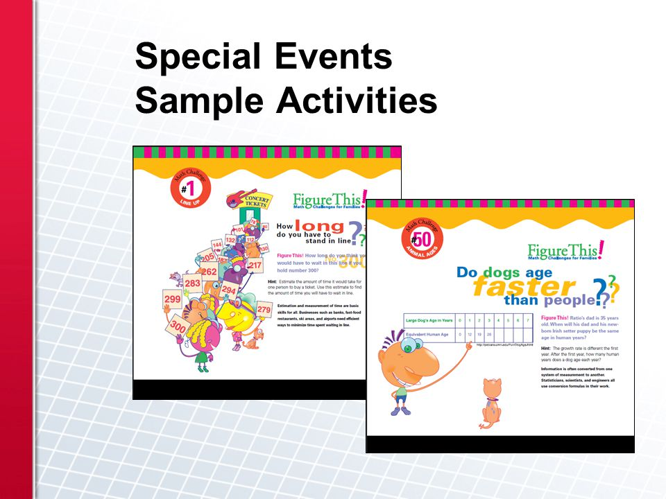 Special Events Sample Activities