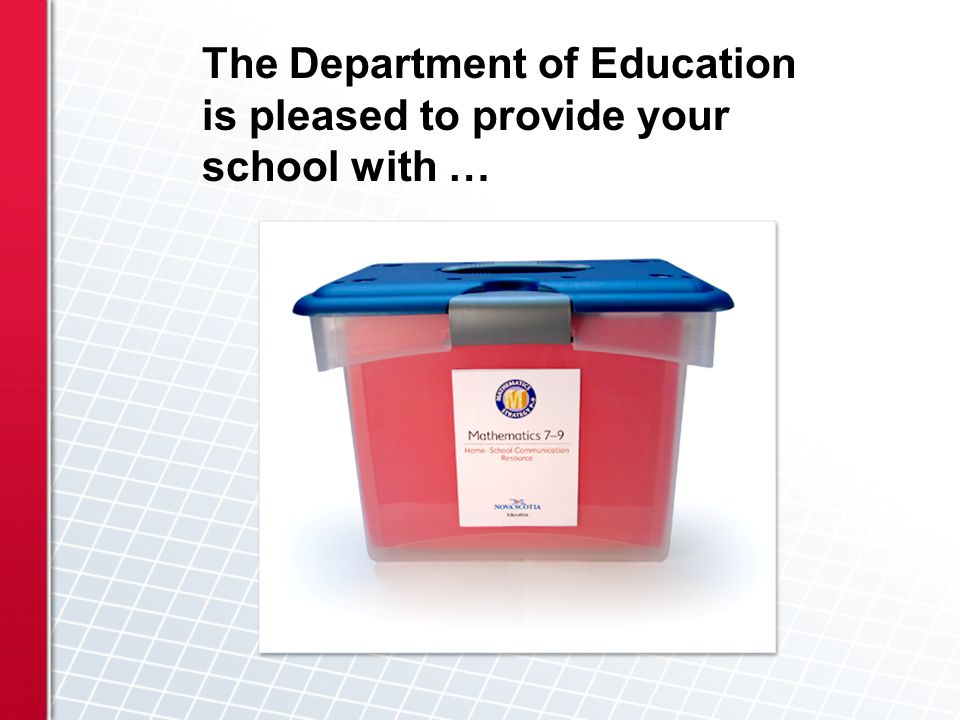 The Department of Education is pleased to provide your school with …