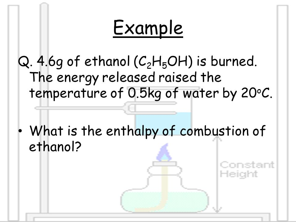 heat of combustion of ethanol
