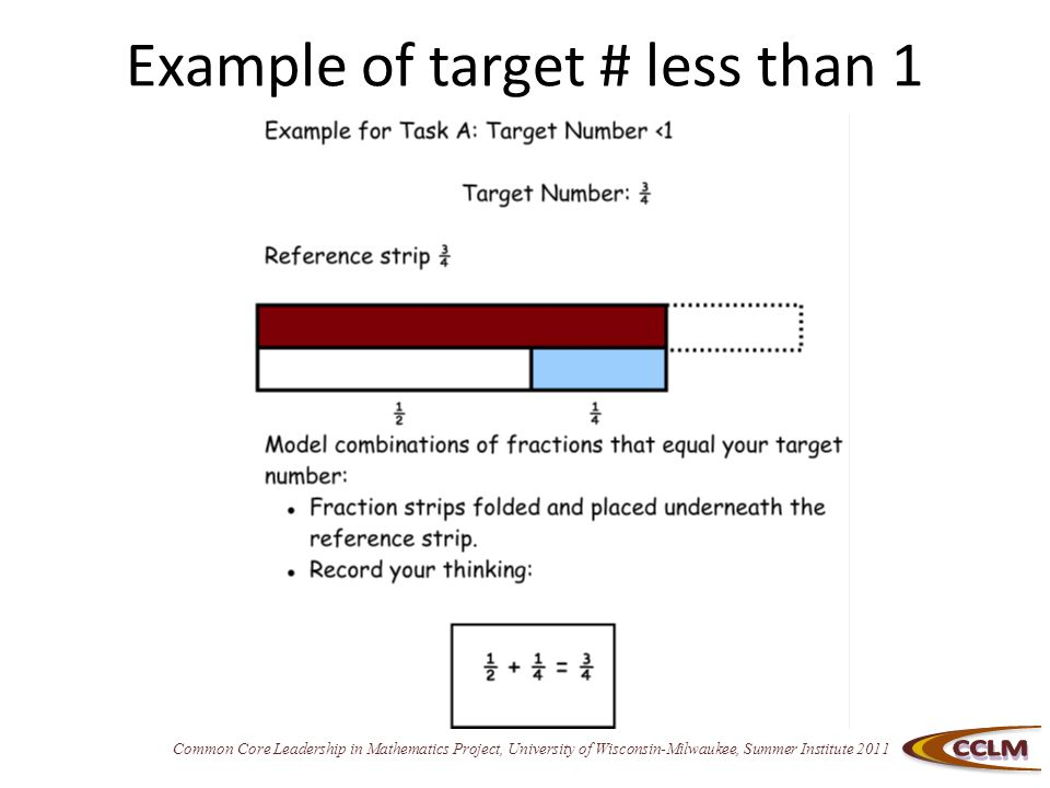 Common Core Leadership in Mathematics Project, University of Wisconsin-Milwaukee, Summer Institute 2011 Example of target # less than 1