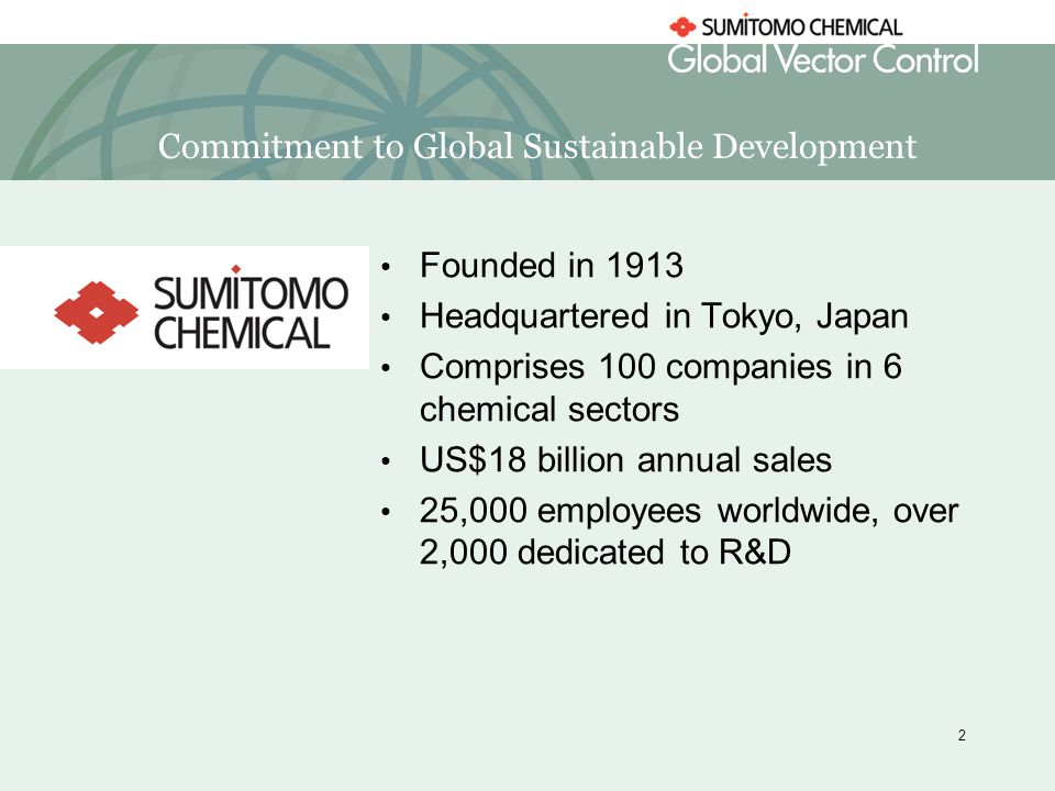 Sumitomo Chemical Corporate Social Responsibility and Malaria  - ppt