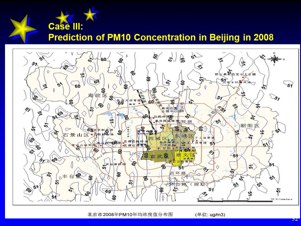 32 Case III: Prediction of PM10 Concentration in Beijing in 2008 Mobile source control strategies (Scenario 2) -- For new vehicles EURO1 2 3EURO 4 Light-duty vehicles Ⅰ