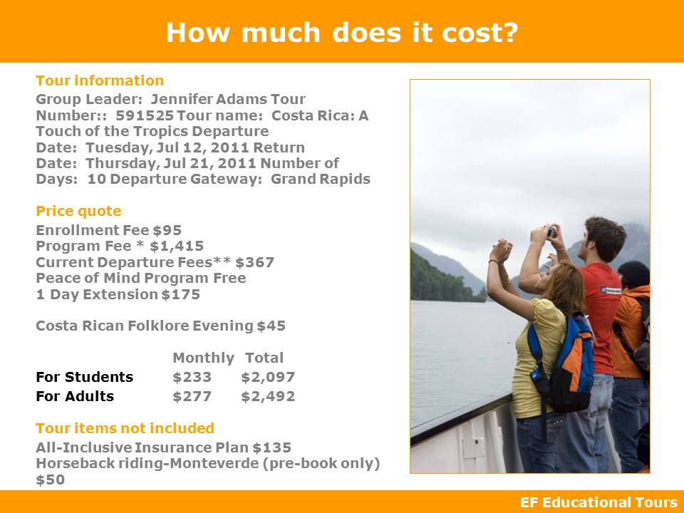 EF Educational Tours How much does it cost.