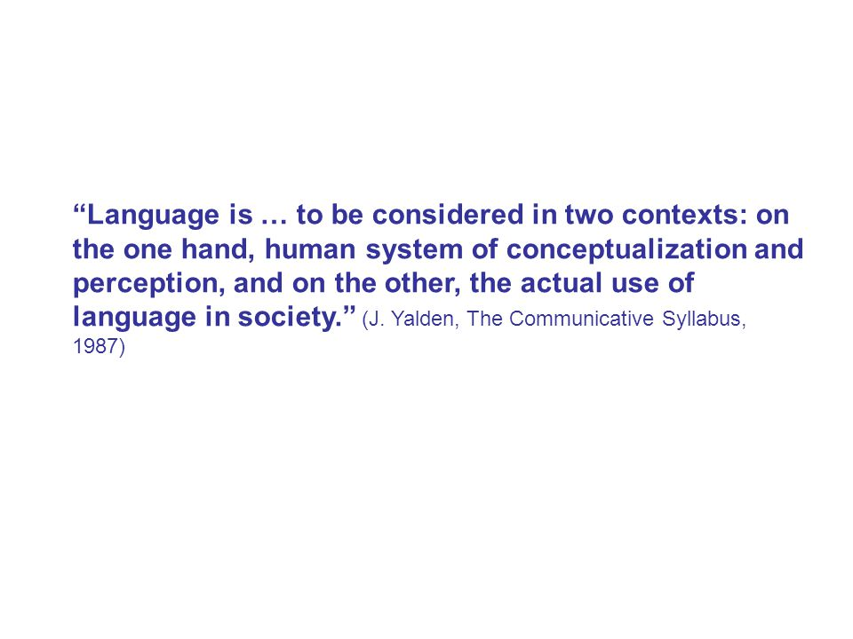 Language is … to be considered in two contexts: on the one hand, human system of conceptualization and perception, and on the other, the actual use of language in society. (J.