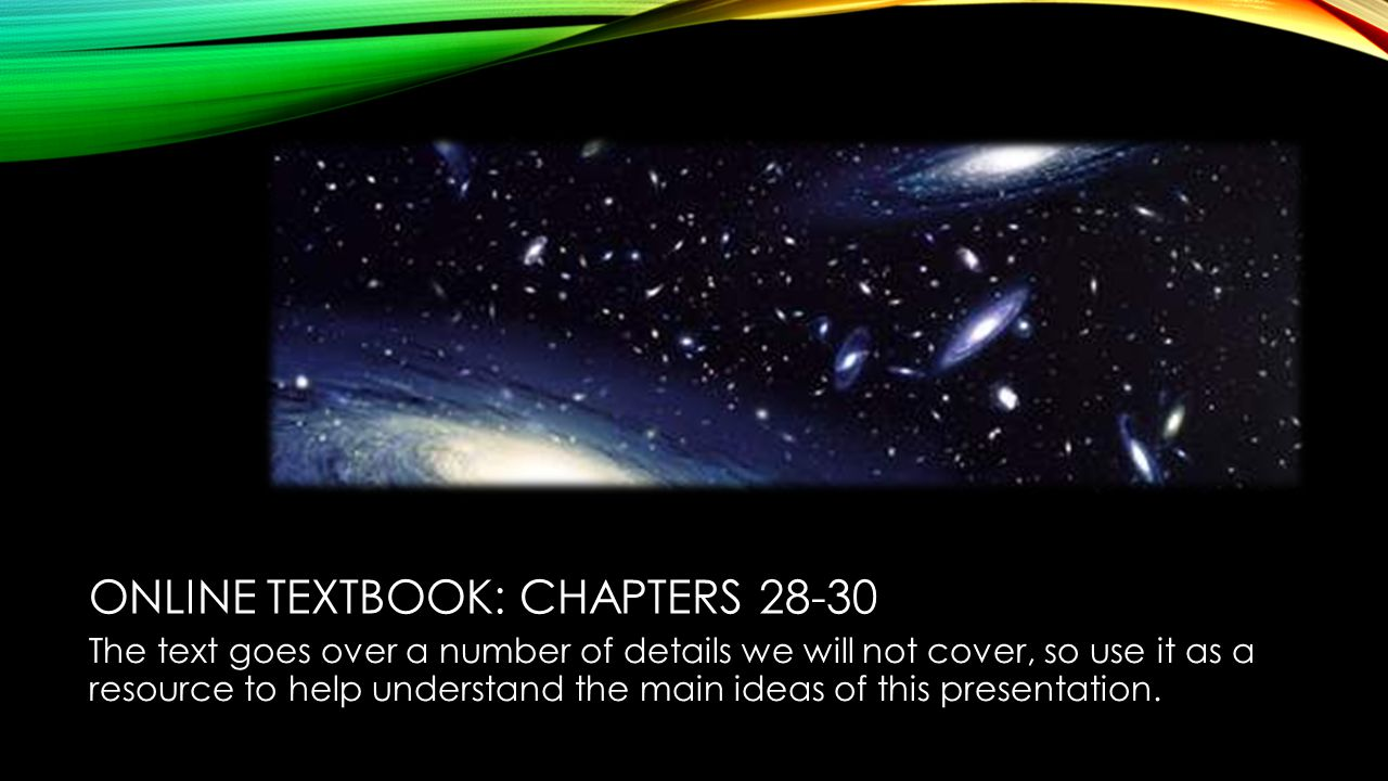 ONLINE TEXTBOOK: CHAPTERS The text goes over a number of details we will not cover, so use it as a resource to help understand the main ideas of this presentation.