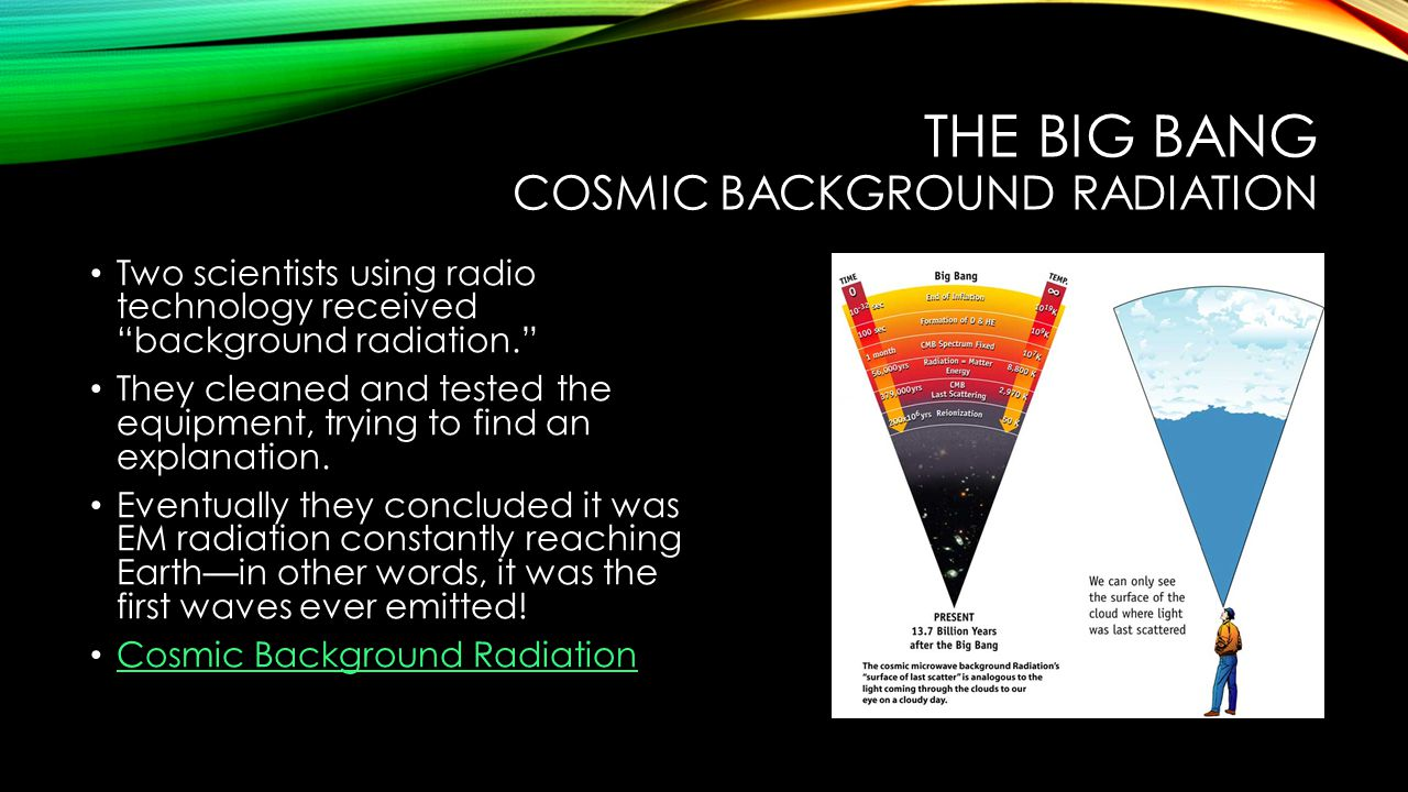 THE BIG BANG COSMIC BACKGROUND RADIATION Two scientists using radio technology received background radiation. They cleaned and tested the equipment, trying to find an explanation.