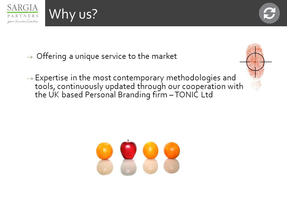  Offering a unique service to the market  Expertise in the most contemporary methodologies and tools, continuously updated through our cooperation with the UK based Personal Branding firm – TONIC Ltd Why us