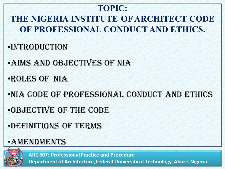 ARC 807: Professional Practice and Procedure Department of