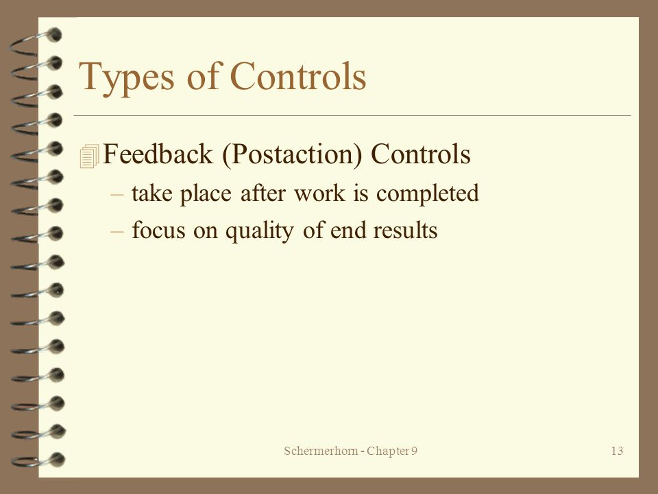 Schermerhorn - Chapter 913 Types of Controls 4 Feedback (Postaction) Controls –take place after work is completed –focus on quality of end results