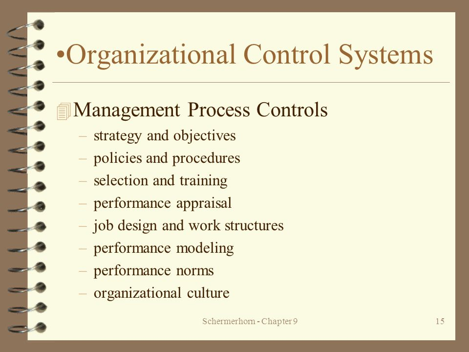 Schermerhorn - Chapter 915 Organizational Control Systems 4 Management Process Controls –strategy and objectives –policies and procedures –selection and training –performance appraisal –job design and work structures –performance modeling –performance norms –organizational culture